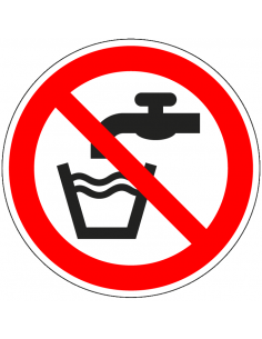 Geen drinkwater sticker, ISO 7010, P005, rood wit, geen drinkwater pictogram, rond