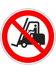 Verboden voor heftrucks sticker, ISO 7010, P006, rood wit, pictogram heftruck, rond
