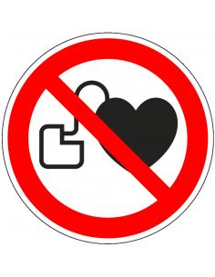 Dubbelzijdige verboden voor pacemakers sticker, P007, rood wit, symbool pacemaker, rond, ISO 7010