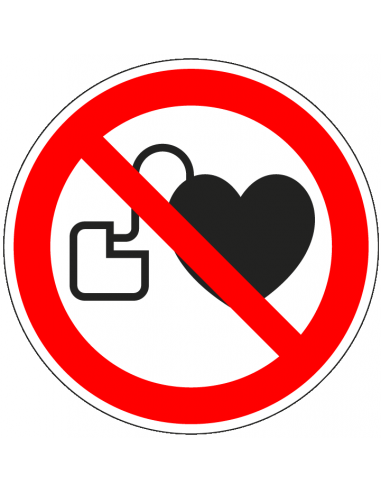 Verboden voor pacemakers sticker, ISO 7010, P007, rood wit, symbool pacemaker, rond