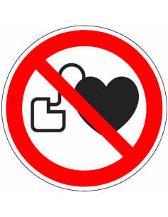 Verboden voor pacemakers bord, kunststof, P007, rood wit, symbool pacemaker, rond, ISO 7010