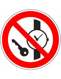Kleine metalen voorwerpen verboden sticker, ISO 7010, P008, rood wit, symbool kleine metalen voorwerpen, rond