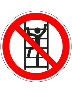Verboden te klimmen sticker, ISO 7010, P009, rood wit, pictogram niet klimmen, rond