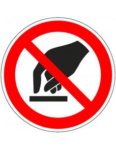 Niet aanraken sticker, ISO 7010, P010, rood wit, pictogram niet aanraken, rond