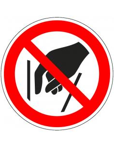 pictogram ingrijpen verboden, rood wit, rond, ISO 7010, P015