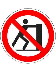 pictogram verboden te duwen, rood wit, rond, ISO 7010, P017