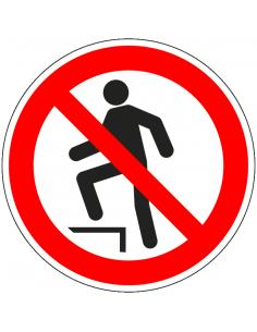 Betreden verboden bord, plexiglas, P024, rood wit, pictogram betreden verboden, rond, ISO 7010