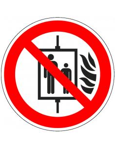 Lift niet gebruiken bij brand sticker, ISO 7010, P020, rood wit, pictogram lift niet gebruiken bij brand, rond