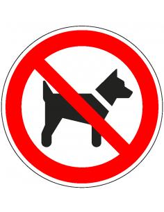 Verboden voor honden bord, aluminium, 200 mm, P021, rood wit, honden verboden pictogram, symbool hond, rond, ISO 7010