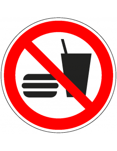 pictogram eten en drinken verboden, rood wit, rond, ISO 7010, P022