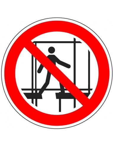 Verboden onafgewerkte stelling te gebruiken sticker, ISO 7010, P025, rood wit, verboden op stelling te lopen pictogram, rond