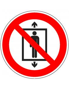 pictogram lift voor personen verboden, rood wit, rond, ISO 7010, P027
