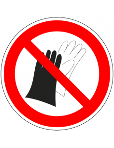 pictogram verboden handschoenen te gebruiken, rood wit, rond, ISO 7010, P028