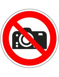 verboden foto's te maken pictogram, rood wit, rond, ISO 7010, P029