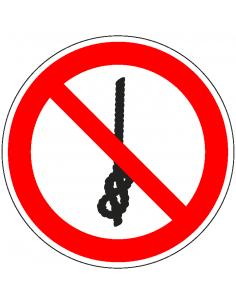 pictogram verboden knopen te maken, rood wit, rond, ISO 7010, P030