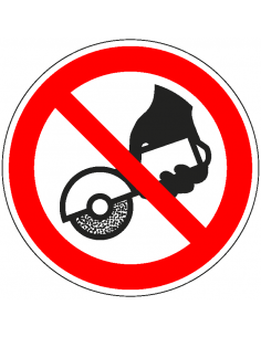pictogram verboden handmatig te slijpen, rood wit, rond, ISO 7010, P034