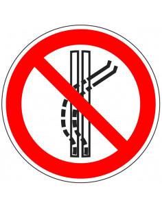 Sleepspoor niet verlaten sticker, ISO 7010, P037, rood wit, rond, verboden sleepspoor verlaten symbool