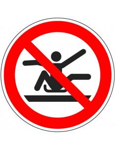 pictogram armen en benen binnenboord houden, rood wit, rond, ISO 7010, P046