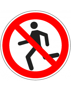 pictogram verboden te rennen, rood wit, rond, ISO 7010, P048