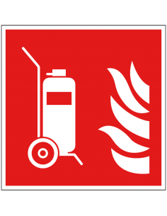 Mobiele brandblusser sticker, ISO 7010, F009, rood wit, pictogram mobiele brandblusser, vierkant