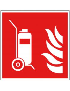 Mobiele brandblusser bord, kunststof,  F009, ISO710, rood wit, pictogram brandblusser, vierkant