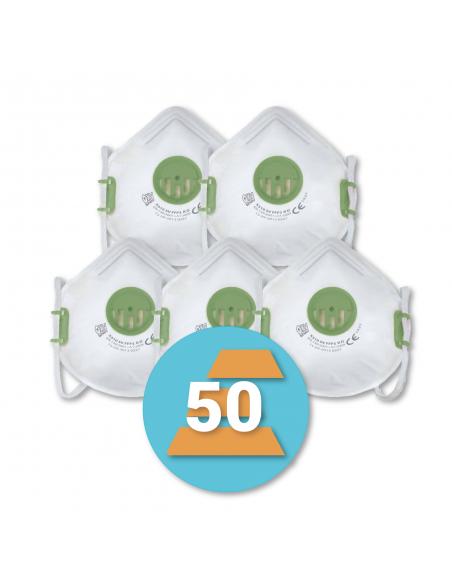 50-pack FFP3 Stofmasker met ventiel X310 SV, R D