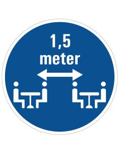 Zittend 1,5 meter afstand houden sticker, blauw wit, rond, personen zittend 1,5 meter uit elkaar pictogram