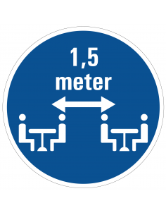 pictogram zittend 1,5 meter afstand houden, blauw wit, rond