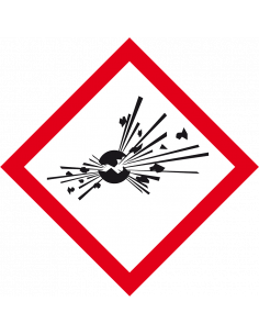 GHS01 explosieve stoffen sticker, vel, CLP etiket, vierkant ruit, ontploffing, rood wit