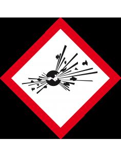 GHS01 explosieve stoffen bord, 100 x 100 mm, CLP etiket, vierkant ruit, ontploffing, rood wit
