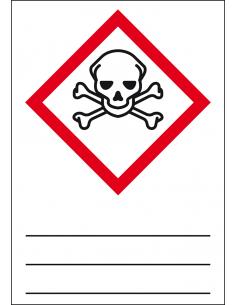 GHS 06 sticker giftige stoffen, 37 x 52 mm, beschrijfbaar