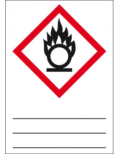 GHS 03 sticker oxiderende stoffen, 37 x 52 mm, beschrijfbaar