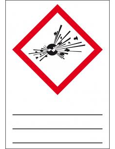 GHS01 explosieve stoffen sticker, 37 x 52 mm, beschrijfbaar, CLP etiket, vierkant ruit, ontploffing, rood wit