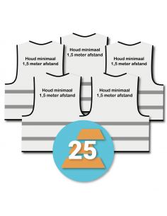 25-pack veiligheidshesje 'Houd minimaal 1,5 meter afstand!' wit