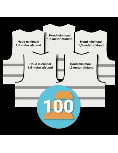 100-pack veiligheidshesje 'Houd minimaal 1,5 meter afstand!' wit