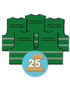 25-pack veiligheidshesje 'Houd minimaal 1,5 meter afstand!' groen