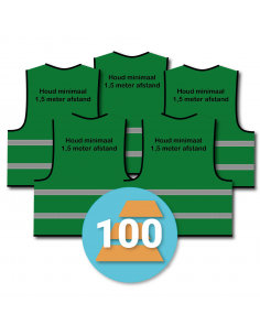 100-pack veiligheidshesje 'Houd minimaal 1,5 meter afstand!' groen