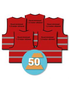 50-pack veiligheidshesje 'Houd minimaal 1,5 meter afstand!' rood