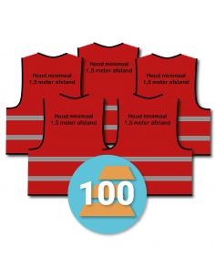 100-pack veiligheidshesje 'Houd minimaal 1,5 meter afstand!' rood