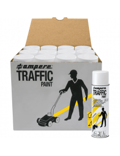 12-pack A.M.P.E.R.E. Markeerverf spray Traffic, wit