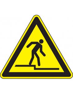 Waarschuwingsbord aftreden, geel zwart, afstapje symbool, driehoek