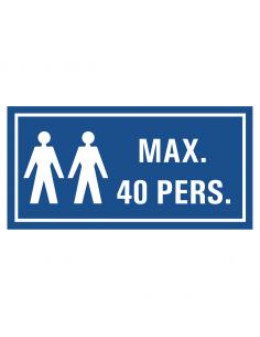 Maximaal 40 personen tekststicker, blauw wit, rechthoek, twee personen symbool met tekst