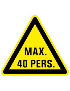 Waarschuwingssticker max. 40 personen, maximaal, driehoek, geel zwart