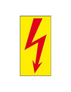 Sticker elektrische spanning, 50 x 100 mm geel rood