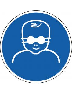 Oogbescherming voor kinderen verplicht sticker, ISO 7010, M025, blauw wit, rond, baby met oogbescherming symbool