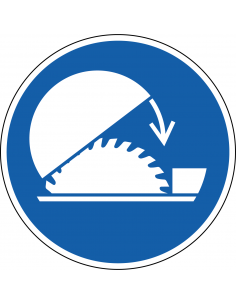 pictogram beschermkap cirkelzaag, blauw wit, rond, ISO 7010, M031