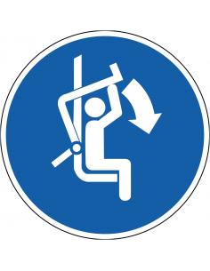 pictogram beugel stoeltjeslift sluiten, blauw wit, rond, ISO 7010, M033
