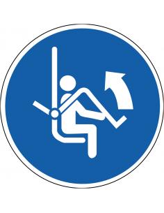 pictogram beugel stoeltjeslift openen, blauw wit, rond, ISO 7010, M034