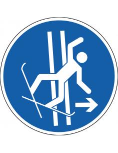 pictogram sleepspoor bij val verlaten, blauw wit, rond, ISO 7010, M035