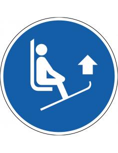 pictogram ski's optillen, blauw wit, rond, ISO 7010, M036